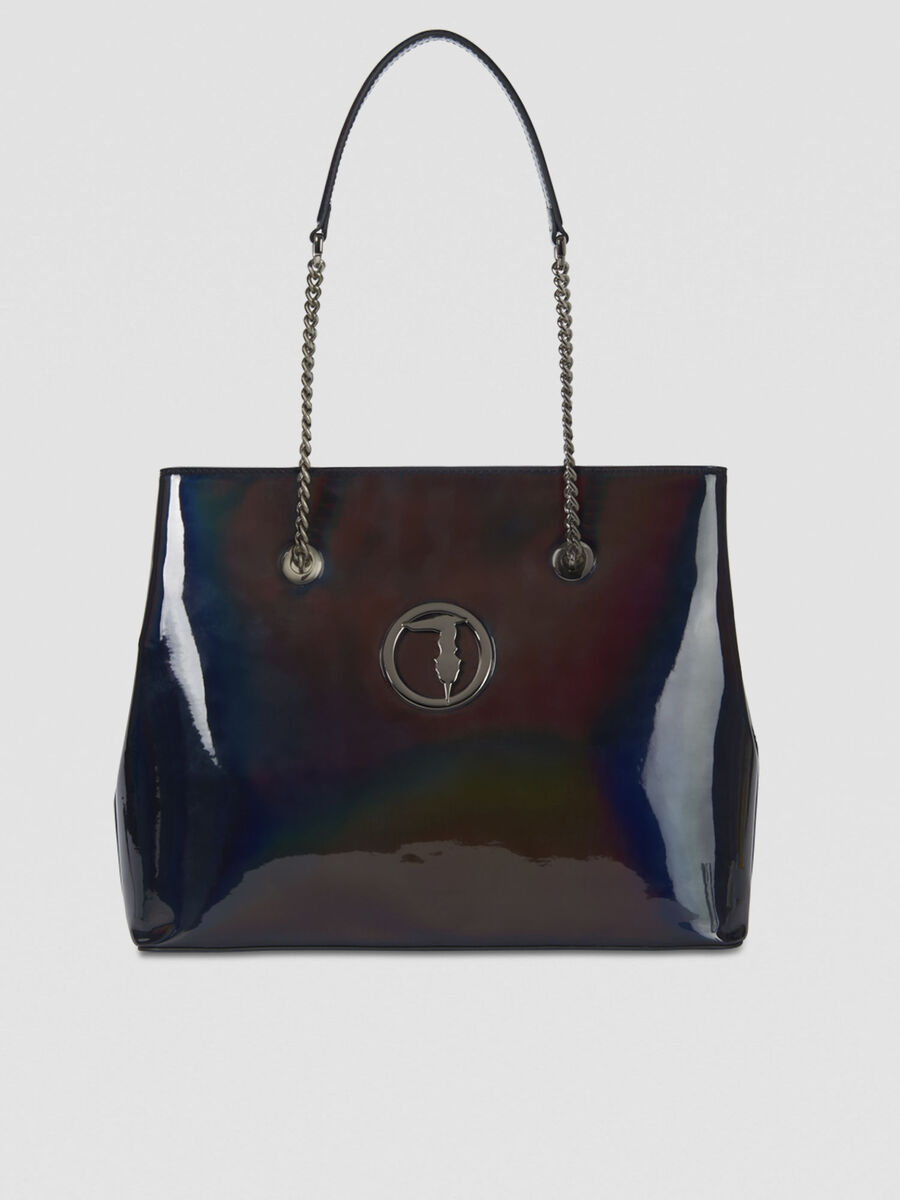 Large Alba tote bag in mirrored faux leather
