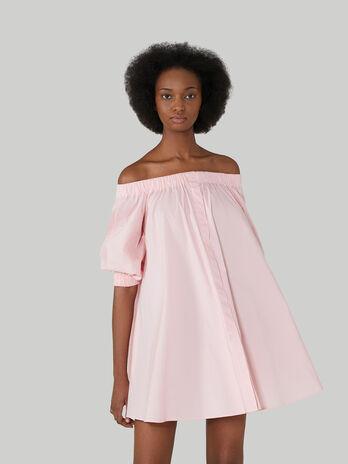 Schulterfreies Kleid aus Baumwollpopeline