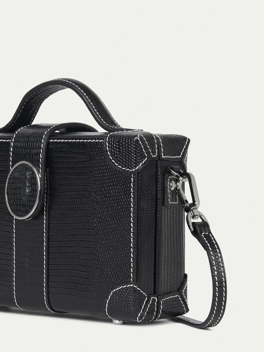 Box Bag aus Leder mit Eidechsenpraegung