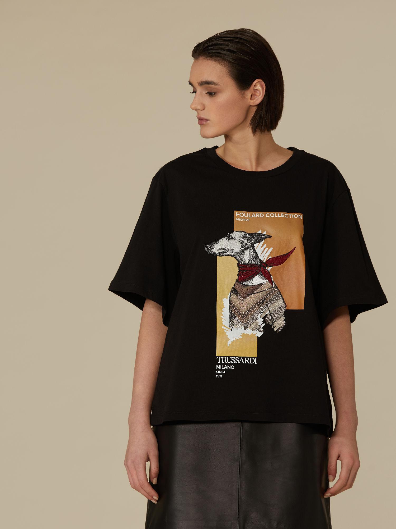 T shirt over fit in puro cotone stampato