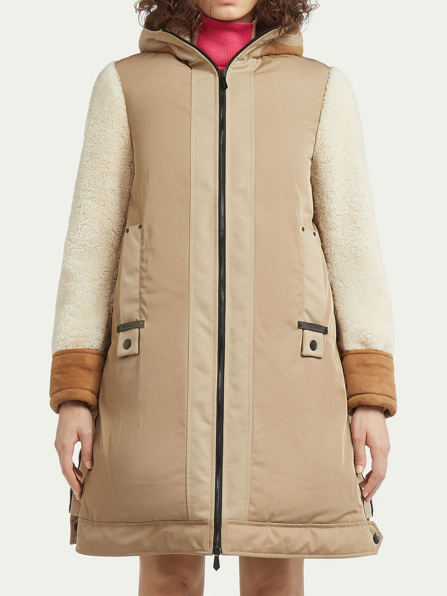 Shearling coat with nylon