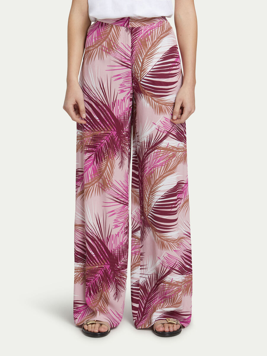 Crepe de chine trousers with palm print