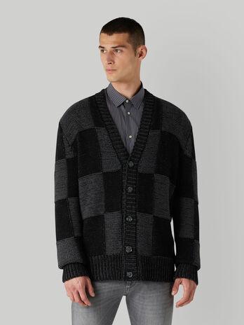 Regular-fit chequered wool-blend cardigan