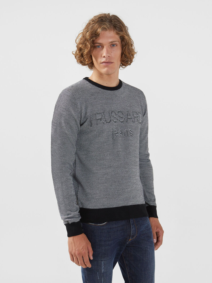Wool blend two tone pullover with logo