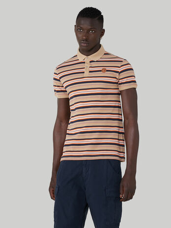 Striped regular-fit pique polo-shirt