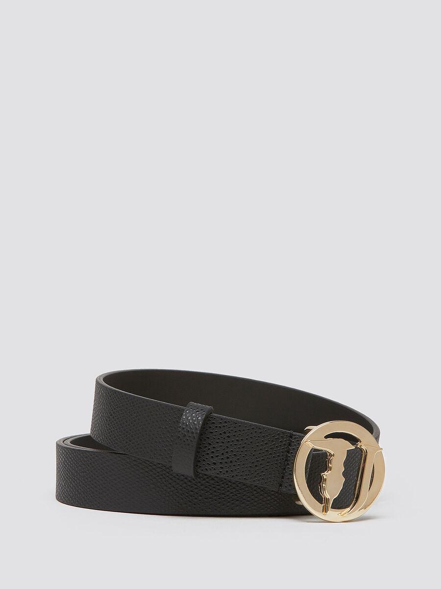 Cintura crespo pelle fibbia logata