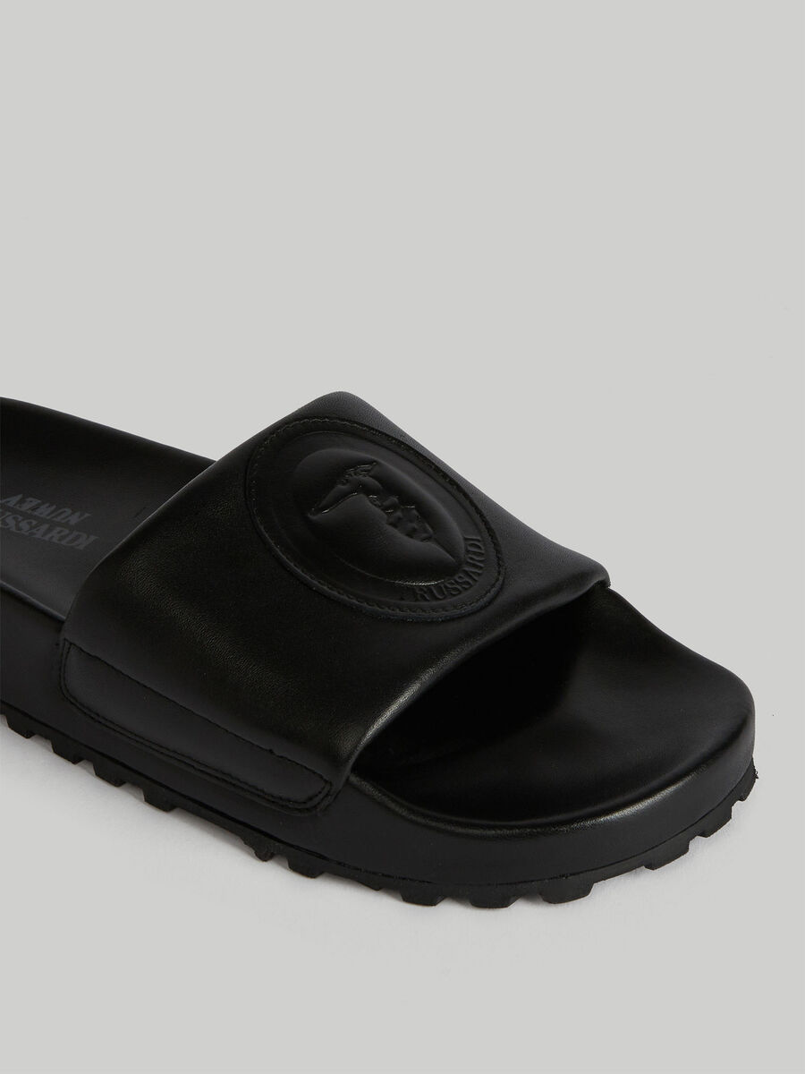 Leather sliders with monogram detail
