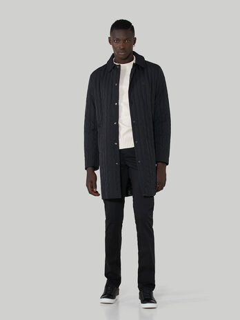 Quilted technical fabric coat