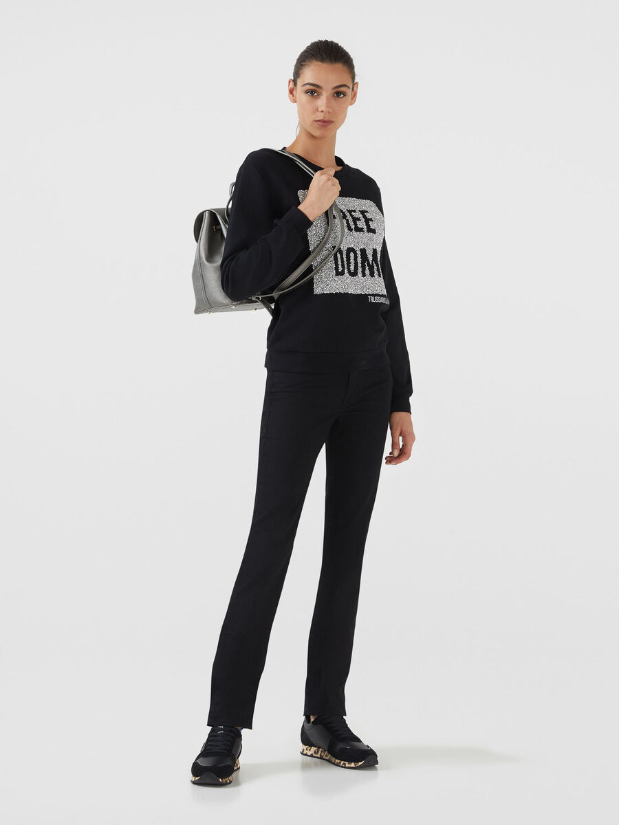 Sweatshirt im Regular Fit aus Baumwolle mit Schriftzug
