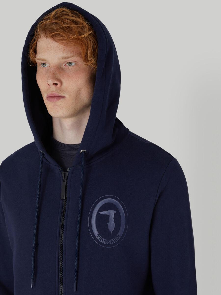 Regular-fit cotton hoody with zip