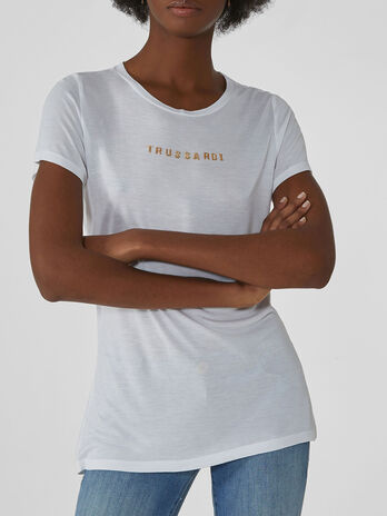 Regular-fit viscose T-shirt with lettering