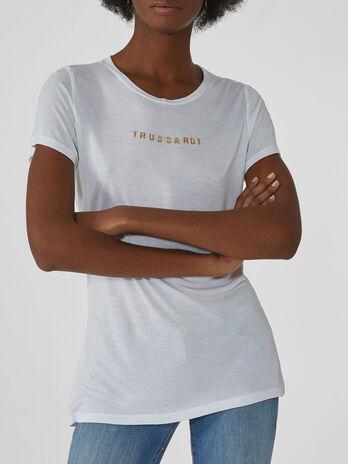 T-shirt coupe classique en viscose avec lettering
