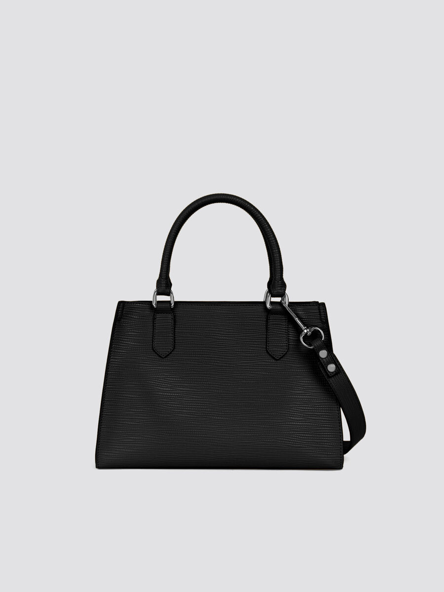 Saffiano T-Tote midi bag lettering and shoulder strap