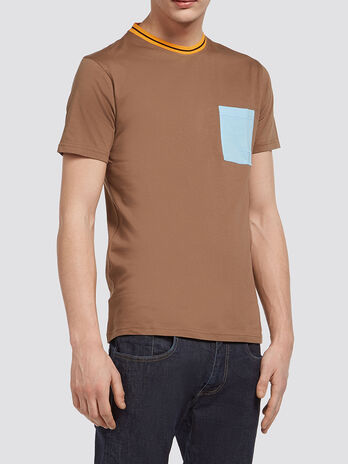 T shirt with breast pocket and striped neckline