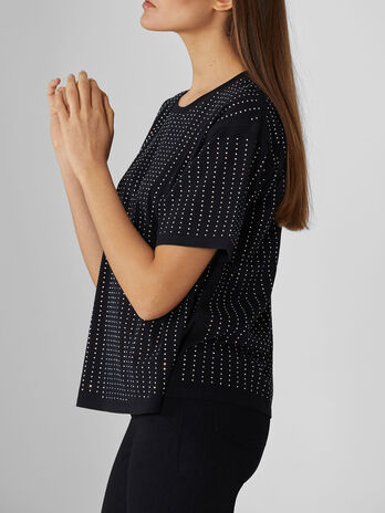 Cotton T-shirt with rhinestone-detailed stripes