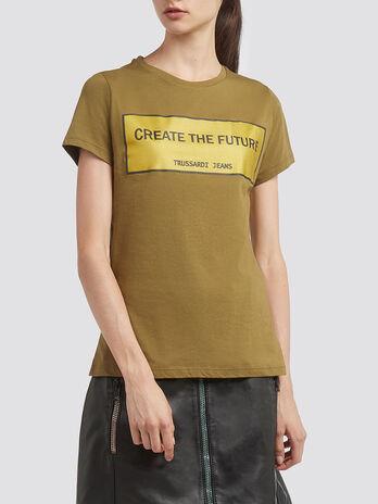 T Shirt aus Baumwolljersey mit Lettering Print