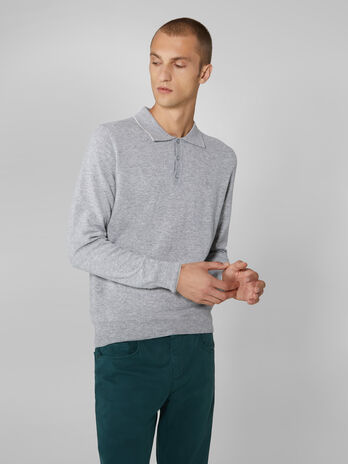 Regular fit cashmere blend polo style pullover