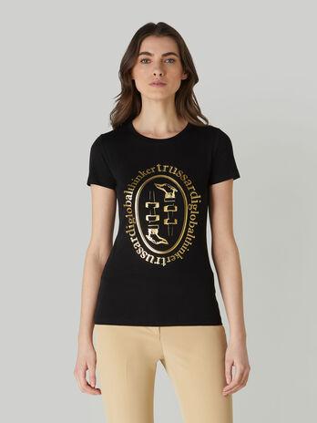 Camiseta de corte slim de algodon con estampado