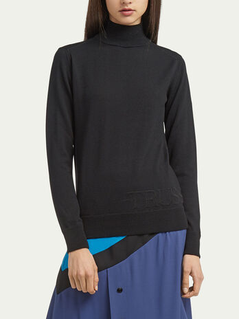 Polo neck pullover with fine rib detailing and branding