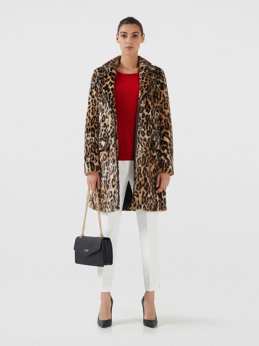 Regular fit animal print faux fur coat