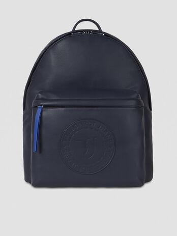 Medium faux leather backpack with logo