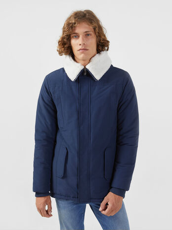 Regular fit nylon and cotton parka