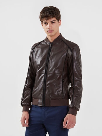 Regular fit bomber jacket in soft leather