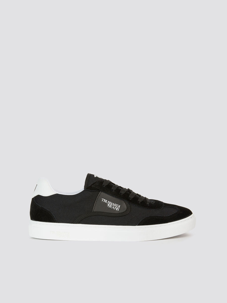 Nylon running sneakers with leather inserts and logo