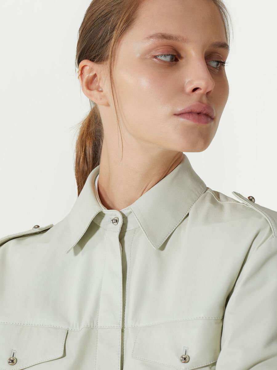 Leather shirt with epaulettes