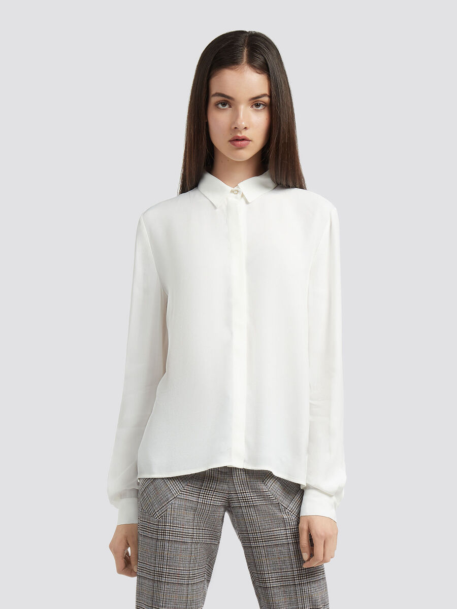 Einfarbige Krepp Bluse