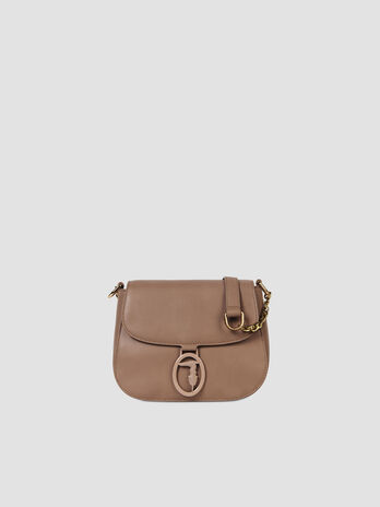 Small crossbody bag in solid colour faux leather