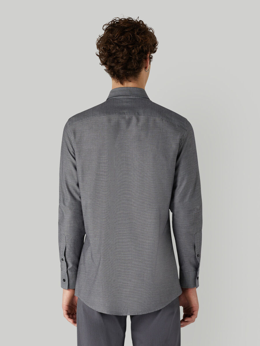 Cotton jacquard shirt with breast pocket