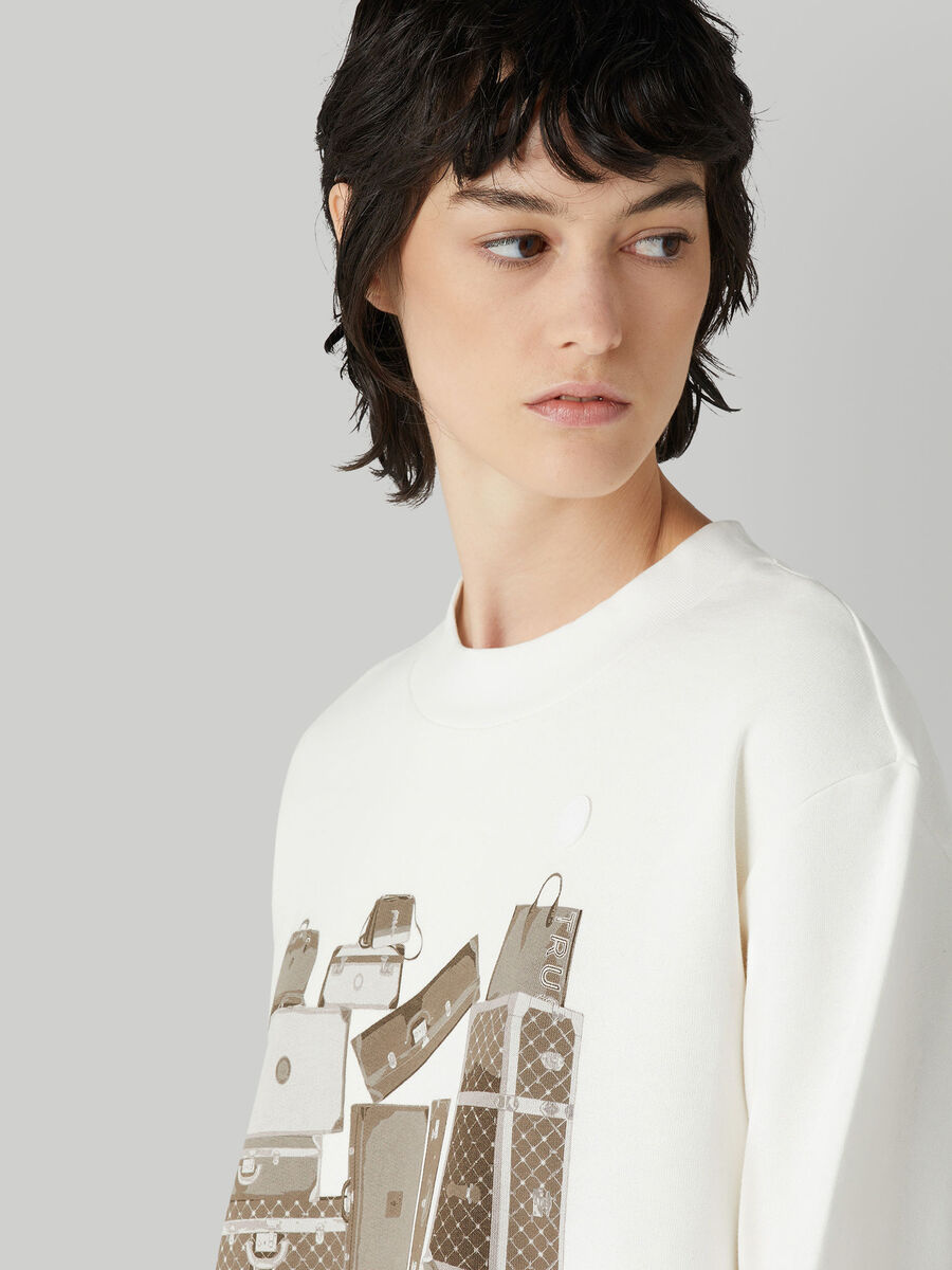 Regular-fit cotton sweatshirt with travel print