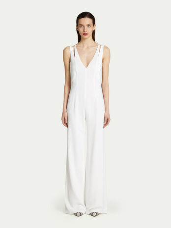 Viscose crepe jumpsuit with faux double layer