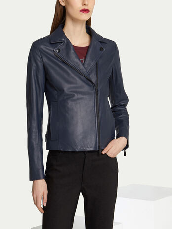 Regular fit leather biker jacket with zip up lapels