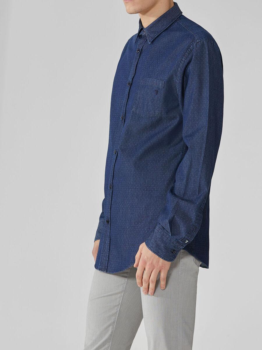 Regular-fit denim jacquard shirt