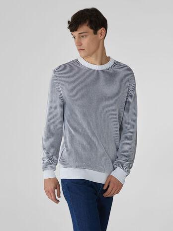 Pullover girocollo in cotone vanise bicolor