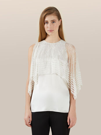 Silk satin blouse with lace cape detail