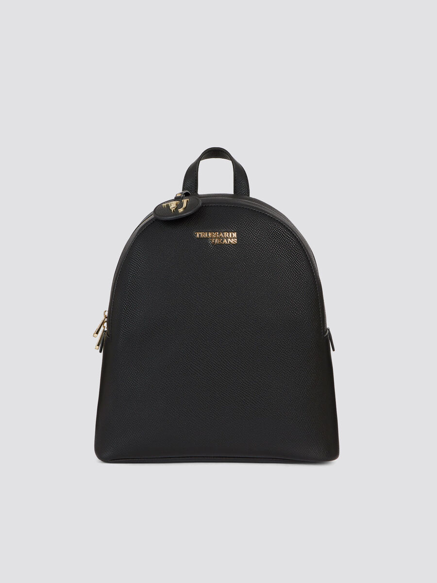 Light medium saffiano T-Easy backpack logo and pendant