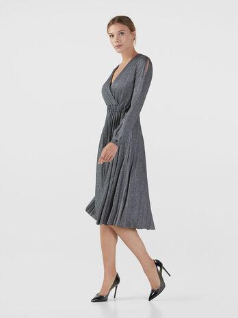 Kleid aus Lurex Jersey mit Faltenrock