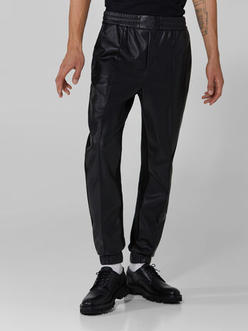 Soft faux leather and jersey trousers