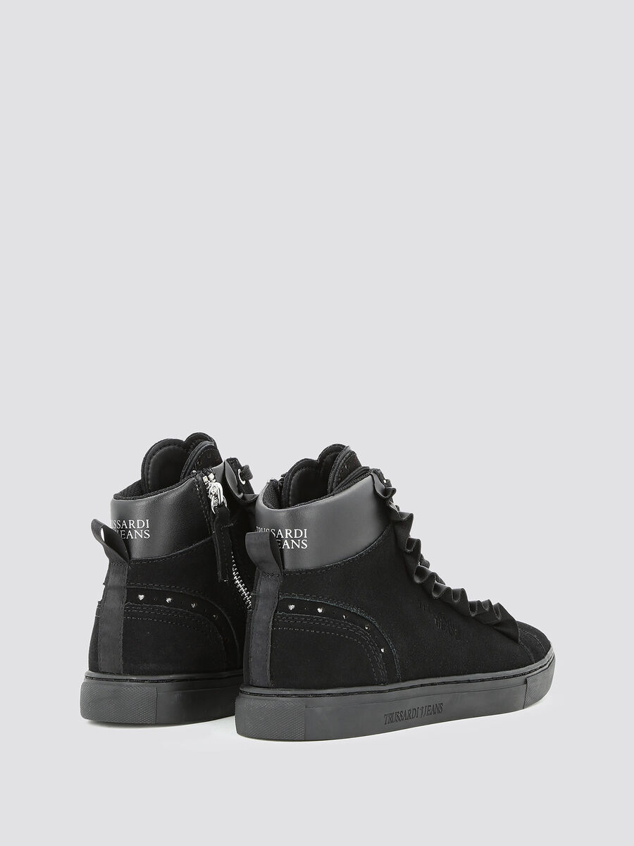 Suede high top sneakers with ruffle
