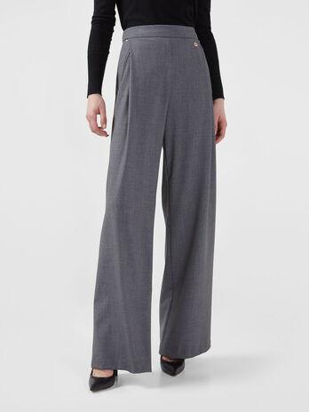 Pantalon palazzo teint en fil
