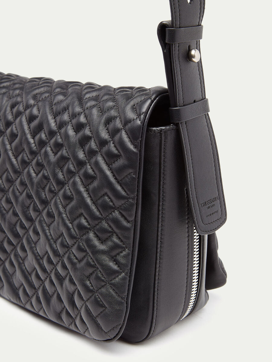 Biker hunting bag medium in nappa trapuntata