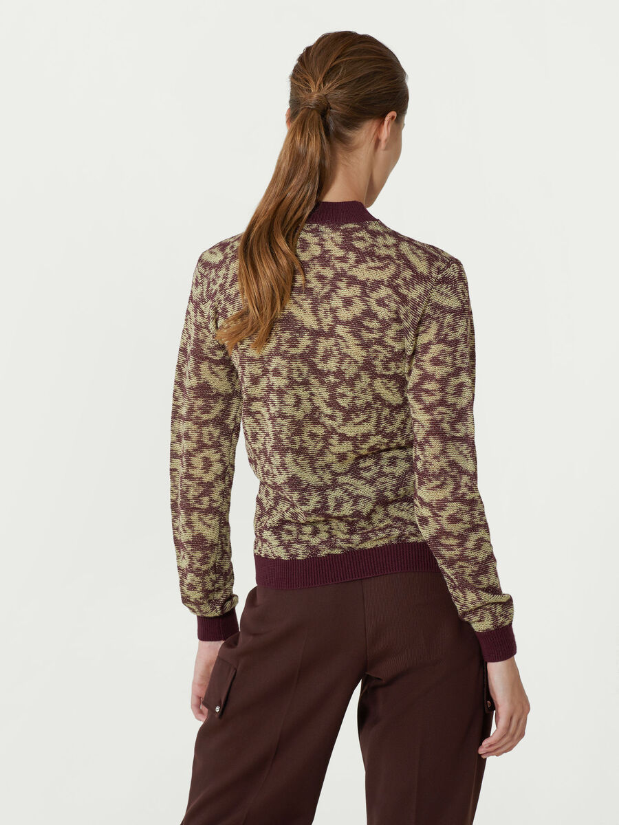 Patterned wool crew neck pullover