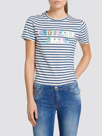 Regular fit cotton T shirt with stripes and lettering