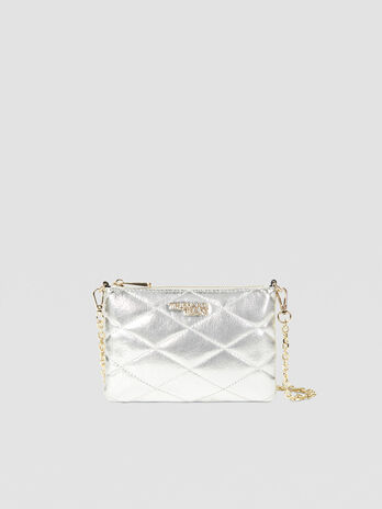 Small metallic clutch in faux leather with zip