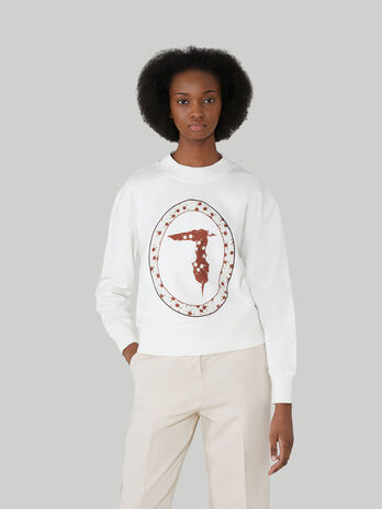 Boxy cotton sweatshirt with monogram print