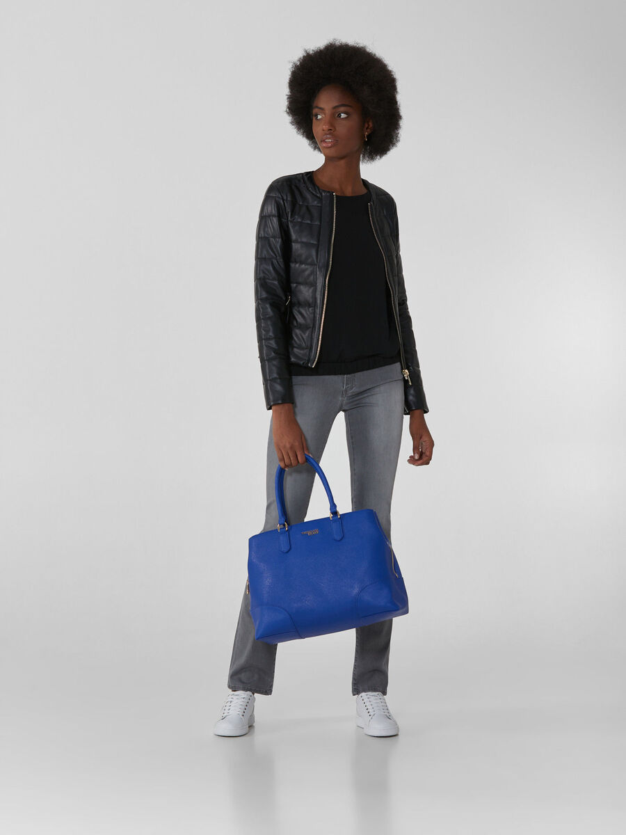 Crew-neck jacket in stretch faux leather
