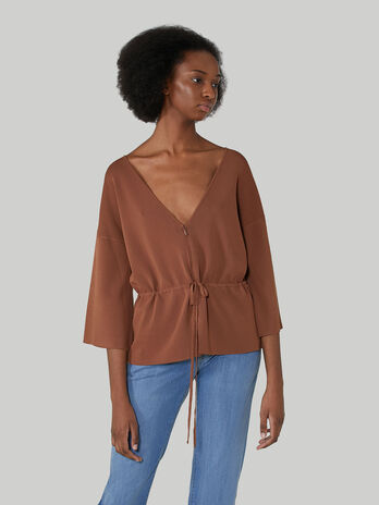 Regular-fit zip-up viscose cardigan